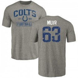 Men's Blake Muir Indianapolis Colts Gray Distressed Name & Number Tri-Blend T-Shirt