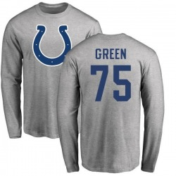 Men's Chaz Green Indianapolis Colts Name & Number Logo Long Sleeve T-Shirt - Ash