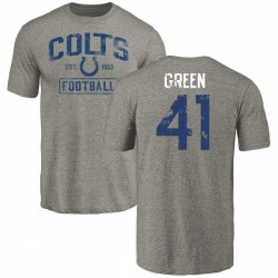 Men's Farrod Green Indianapolis Colts Gray Distressed Name & Number Tri-Blend T-Shirt