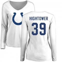 Women's Lee Hightower Indianapolis Colts Name & Number Logo Slim Fit Long Sleeve T-Shirt - White