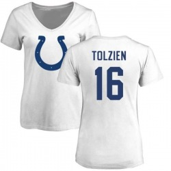 Women's Scott Tolzien Indianapolis Colts Name & Number Logo Slim Fit T-Shirt - White