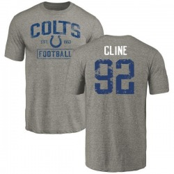 Youth Kameron Cline Indianapolis Colts Gray Distressed Name & Number Tri-Blend T-Shirt